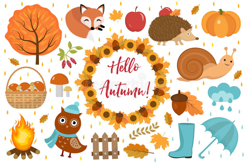 Hello Autumn icons set flat or cartoon style.Collection design elements with leaves, trees, mushrooms, pumpkin, wild stock illustration