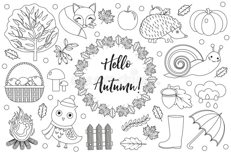 Hello Autumn icons set sketch, hand drawing, doodle style.Collection design elements with leaves, trees, mushrooms. Pumpkin, wild animals, umbrella and boots vector illustration