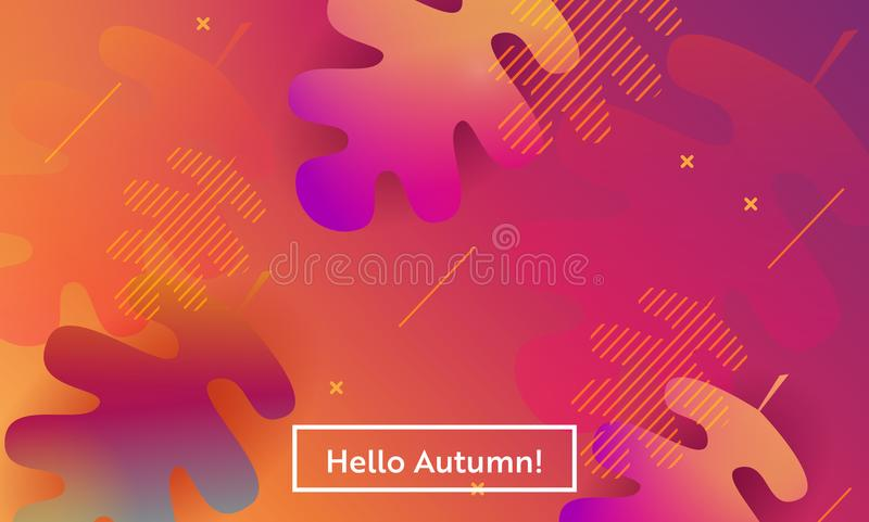 Hello Autumn Layout with Leaves for Web, Landing Page, Banner, Poster, Website Template. Fall Seasonal Background for App. Hello Autumn Layout with Leaves for royalty free illustration