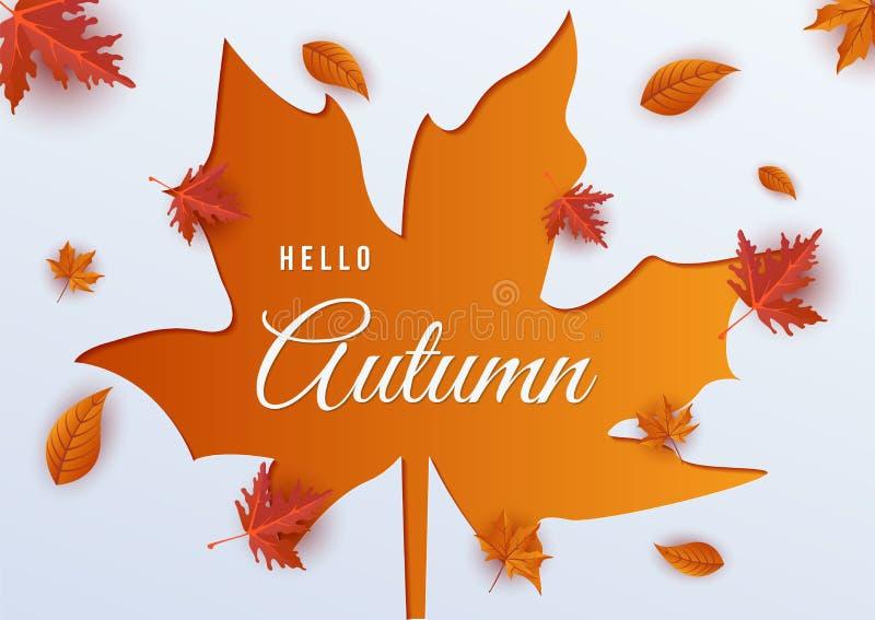 Hello autumn leaf background vector royalty free illustration