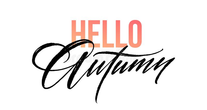 Download Hello Autumn Lettering For Card, Poster, Banner, Print,  Handwritten Quotes,