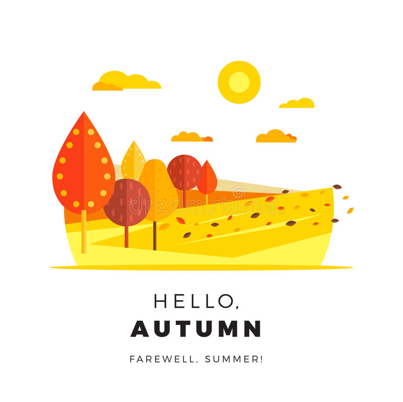 Hello autumn promotion web banner with greeting text. Promo fall royalty free illustration