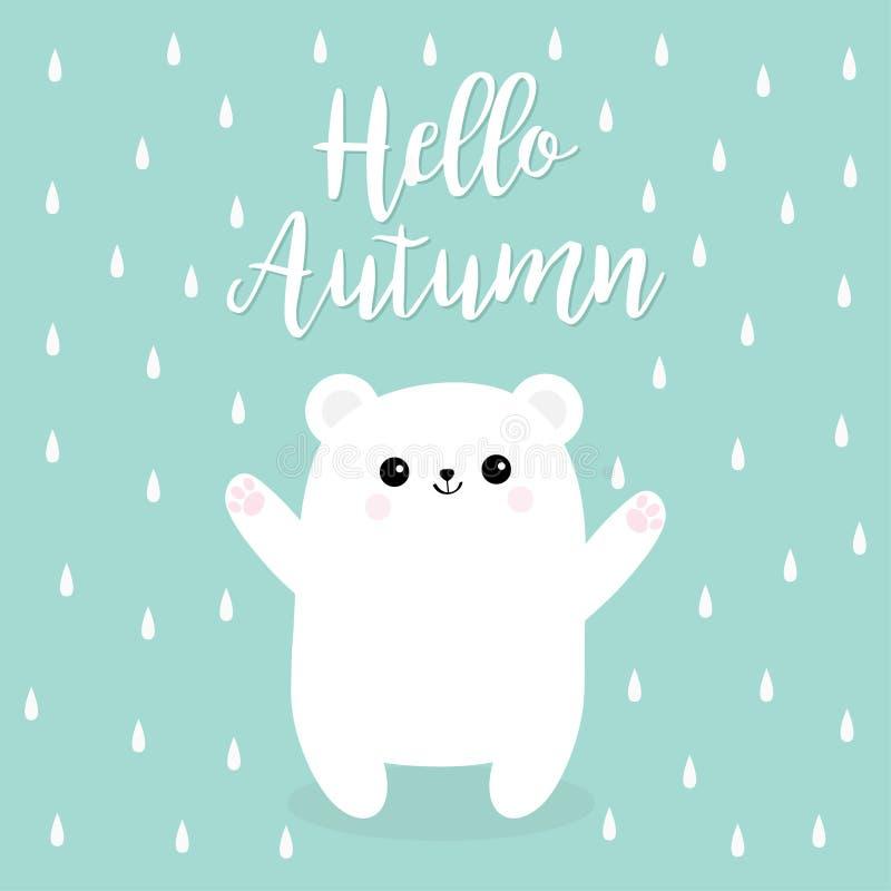 Hello autumn. Rain drop. Polar white small little bear cub. stock illustration