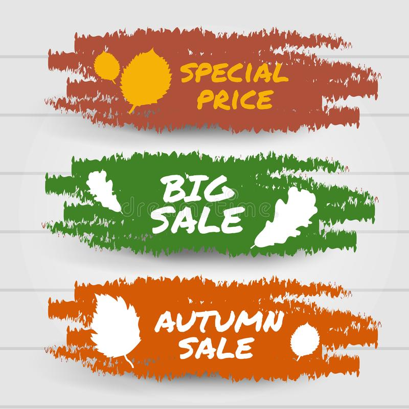 Hello autumn sale, big sale, special promotion collection banner. Red, yellow and orange brush stroke splashes label. Vector illus royalty free illustration