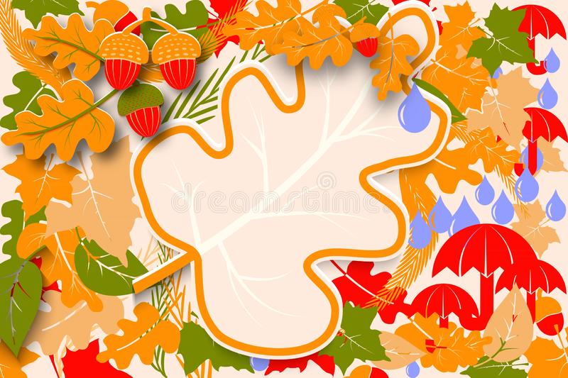 Hello Autumn sale flyer sample template design. Bright fall oak and maple leaves and acorns. Poster, card, label or banner design. Colourful seasonal vector illustration