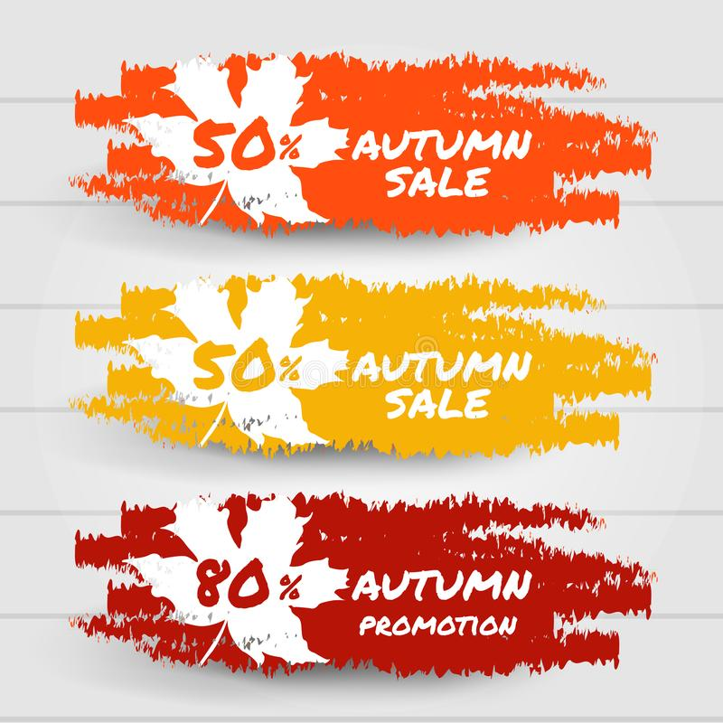 Hello autumn sale promotion collection banner. Red, yellow and orange brush stroke splashes label. Vector illustration stock illustration