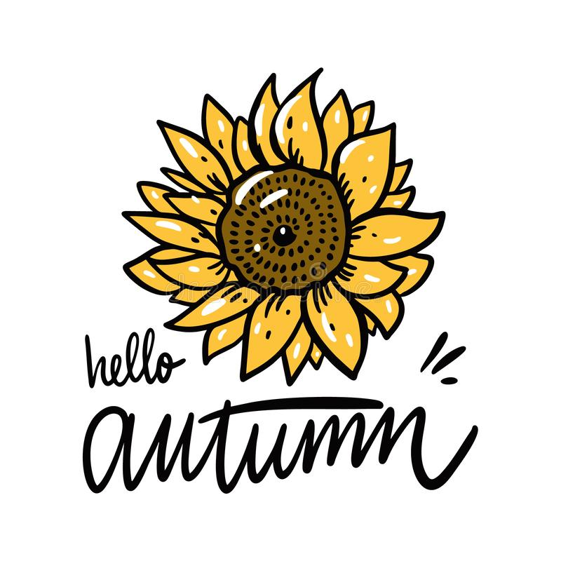 Hello Autumn and Sunflower hand drawn vector illustration. Isolated on white background. stock illustration