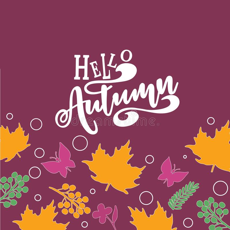 Hello Autumn text poster of September leaf fall or autumnal foliage of maple, for shopping sale design or promo poster. And leaflet or web banner royalty free illustration