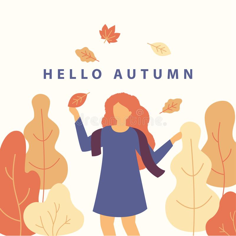 Hello autumn vector flat illustration with cartoon character of cute girl in a dress and scarf throwing fall leaves royalty free illustration