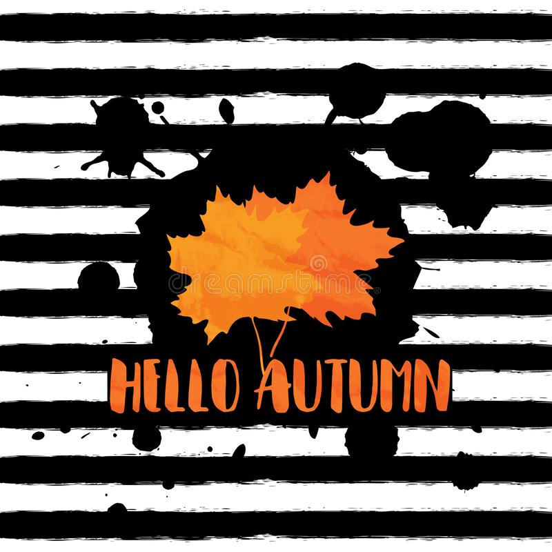 Hello autumn. Vector grunge background with black hand drawn stripes and blobs, maple leaves and lettering stock illustration