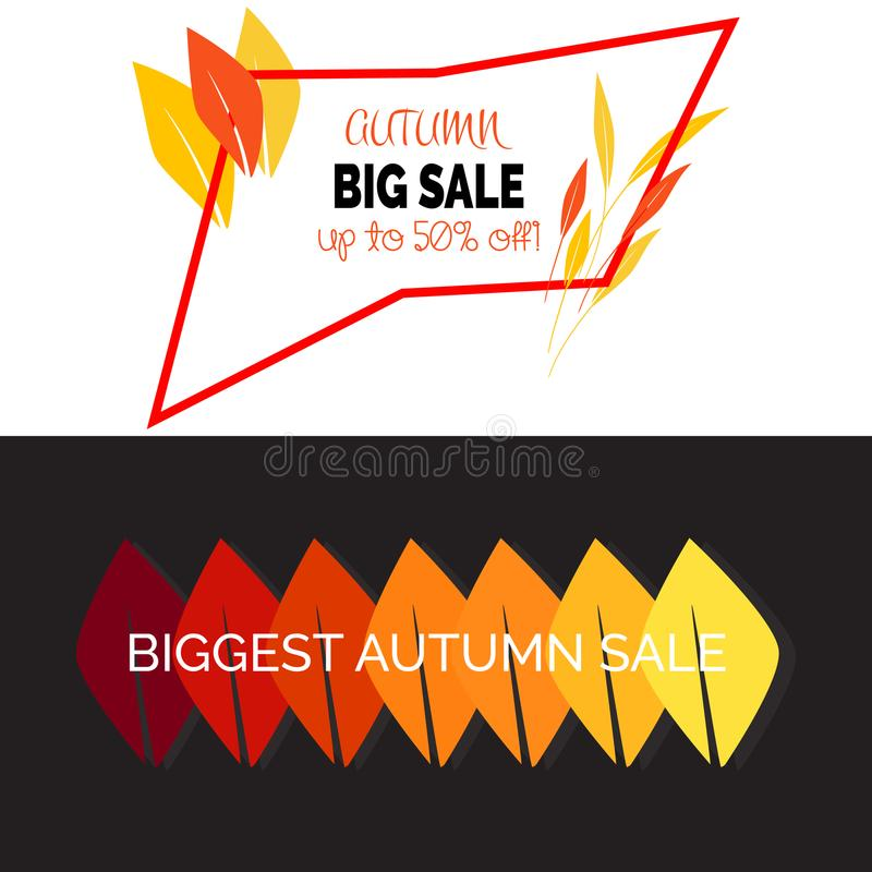 Hello Autumn Vector illustration. Fall sales design season. Thanksgiving Holiday decoration. Can be used for flyers, banners or po royalty free illustration