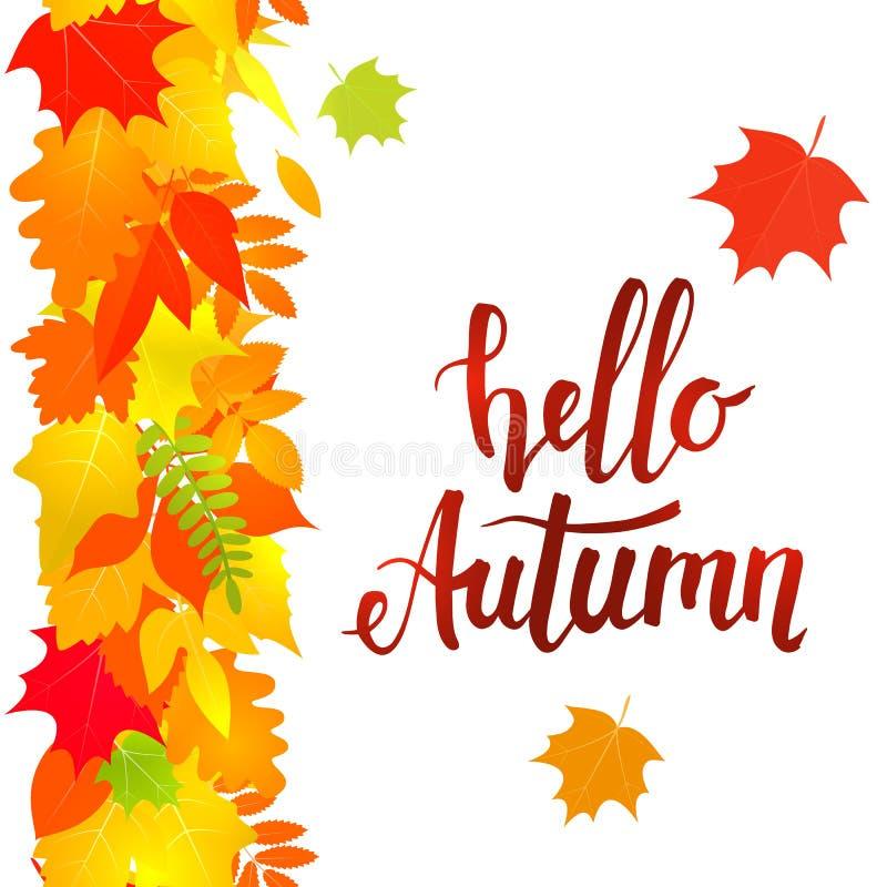 Hello autumn, vertical seamless border vector illustration
