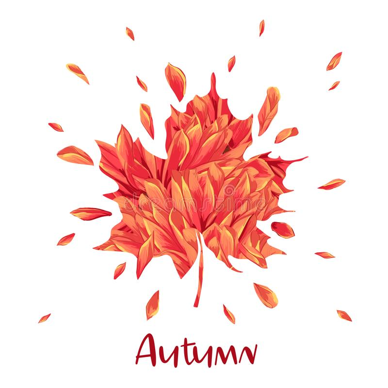 Hello Autumn Watercolor Floral Design with Maple Leaf. Seasonal Fall Banner, Poster, Print, Sale, Promo Template. Autumn vector illustration