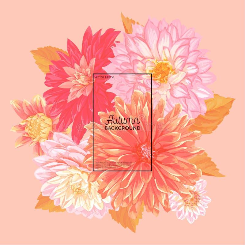 Hello Autumn Watercolor Floral Design med lönnlövet Säsongsbetonat nedgångbaner, affisch, tryck, Sale, Promomall Höst royaltyfri illustrationer