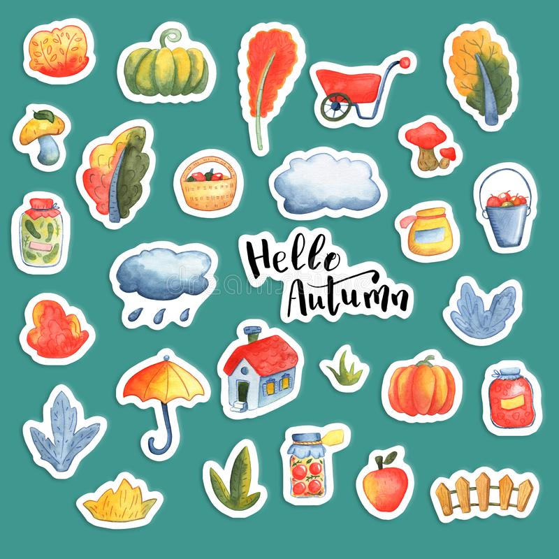 Hello Autumn watercolor sticker set. Autumn themed icons with orange tree, pumpkin, garden cart and umbrella stock illustration