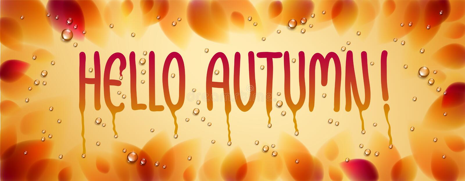 Hello autumn word drawn on a window, yellow and red leaves and water rain drops or condensate macro. vector illustration