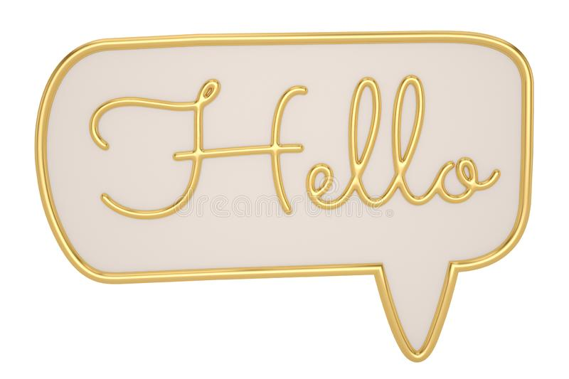Hello. Banner, speech bubble, poster and sticker concept, 3D style with text Hello.  3D illustration vector illustration