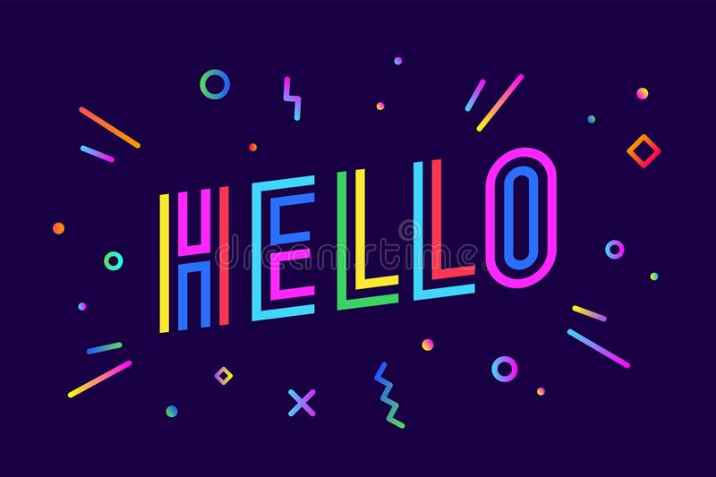 Hello. Banner, speech bubble, poster and sticker concept vector illustration