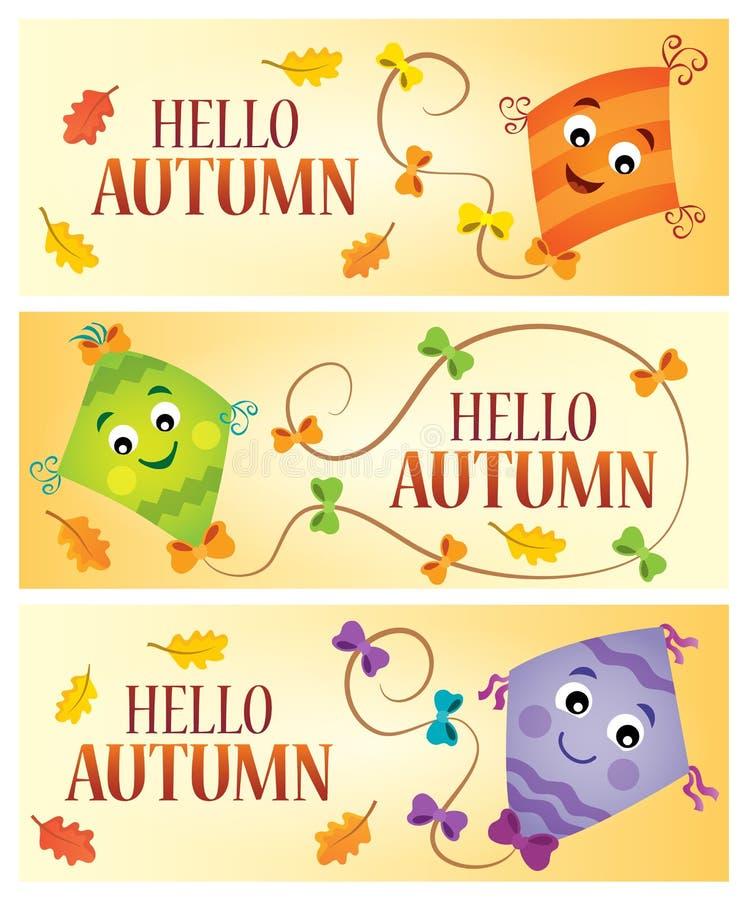 Hello-banners 1 van het de herfstthema royalty-vrije illustratie