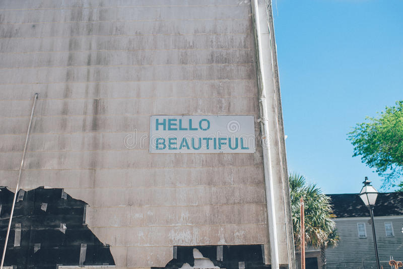 Download Hello Beautiful Sign stock photo. Image of signage, photo - 83015224