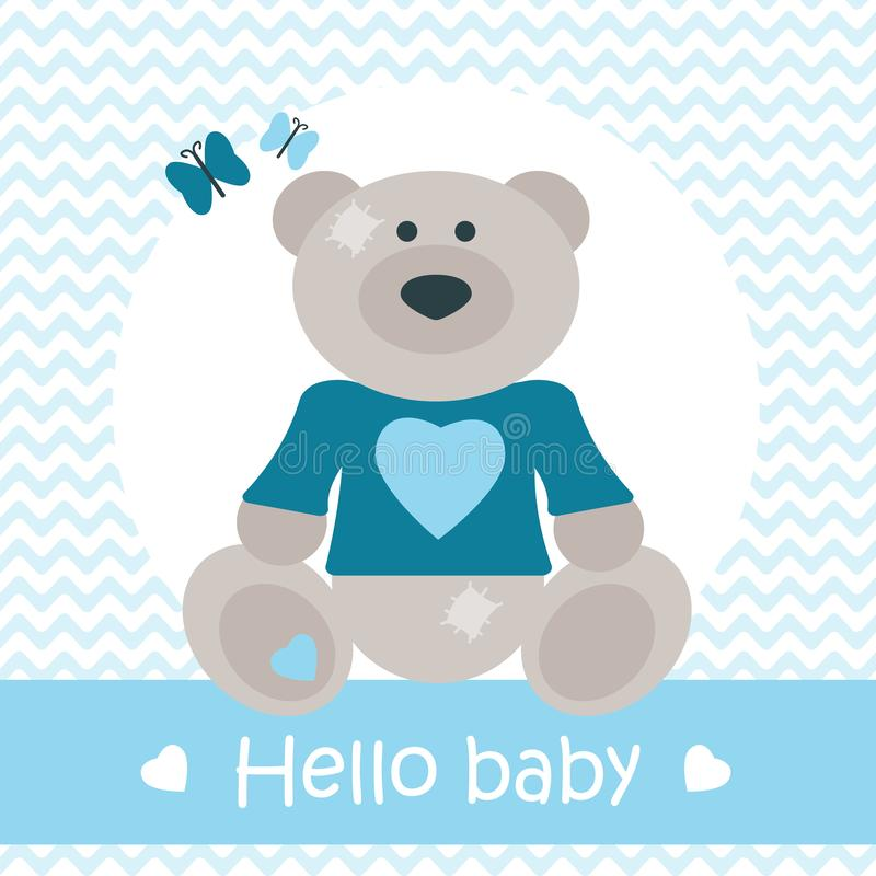 Hello behandla som ett barn kortet med björnen royaltyfri illustrationer