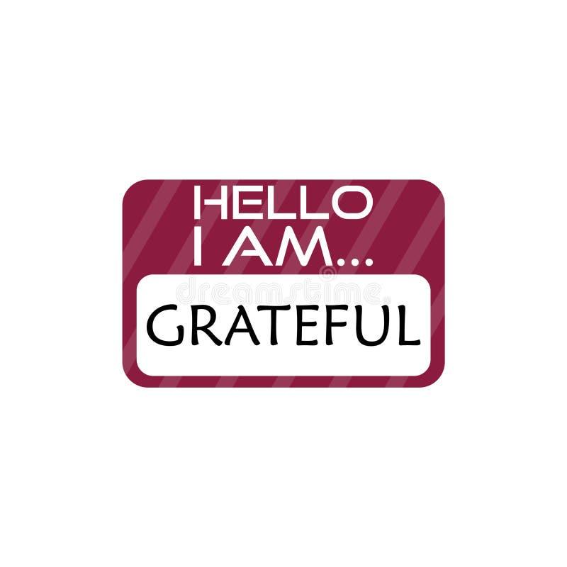 Hello ben ik Dankbaar Word teken vector illustratie