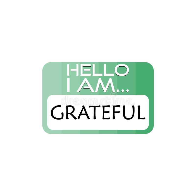Hello ben ik Dankbaar Word teken royalty-vrije illustratie