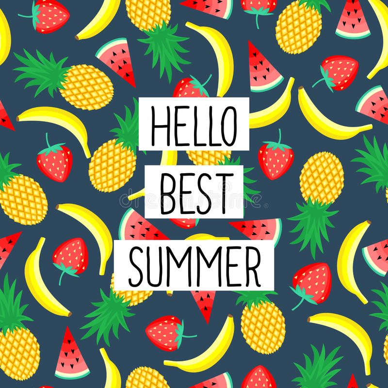 Hello Best Summer phrase on seamless pattern with yellow bananas, pineapples and juicy strawberries. Cute vector design for posters, t-shirts, cards vector illustration