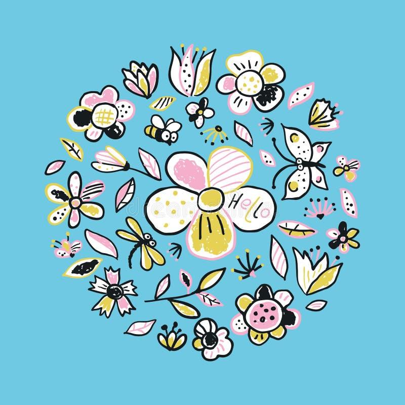 Hello blom- kort Vectorr blå bakgrund med blommor vektor illustrationer