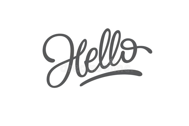Hello bokstäver på vit isolerad bakgrund Typografi för logodesignen, klistermärke, emblem, baner, hälsning, affisch royaltyfri illustrationer