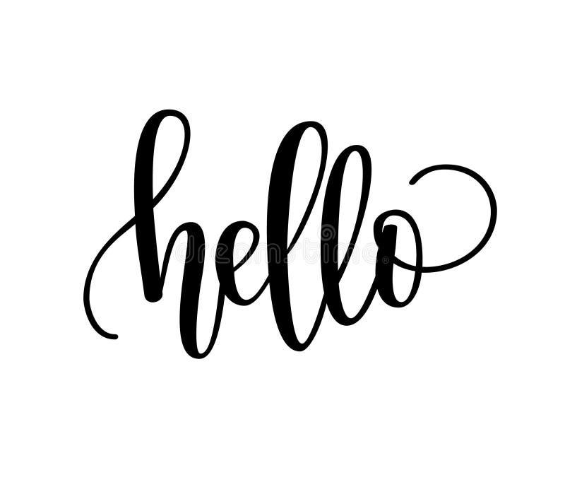 Hello bokstäverdesign royaltyfri illustrationer
