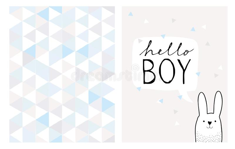 Hello Boy Hand Drawn Card and Irregular Triangles Vector Pattern. stock illustration