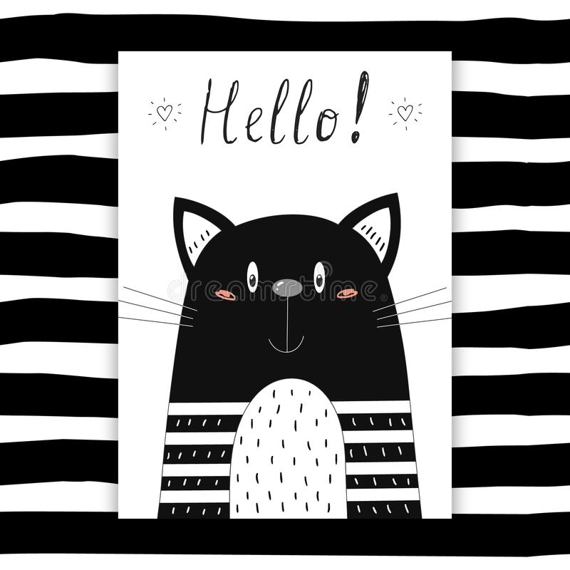 Hello card Hand dragen gullig rolig katt Tryckbar mall royaltyfri illustrationer