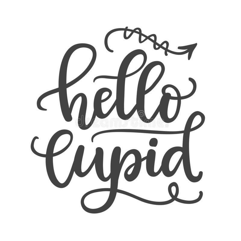 Hello cupid. Hand Written Lettering stock illustration