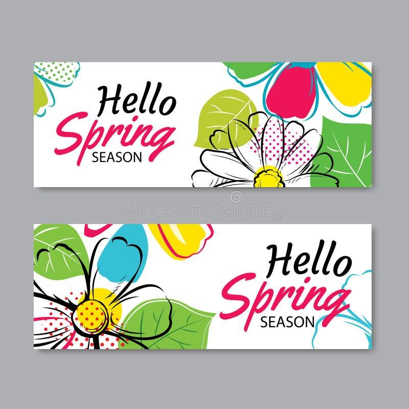 Hello-de bannermalplaatje van de de lenteverkoop met kleurrijke bloem Kan zijn ons royalty-vrije illustratie