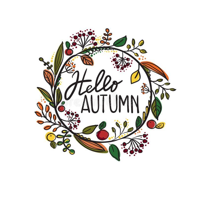 Hello-de herfst stock illustratie