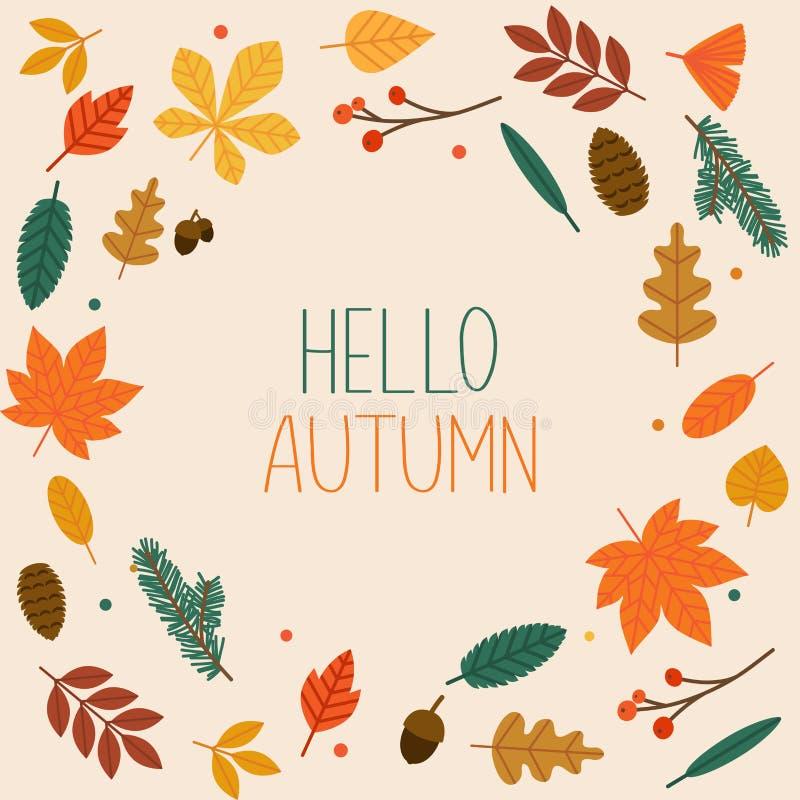 Hello-de herfst De herfst doorbladert op de achtergrond Vlak modern ontwerp royalty-vrije illustratie