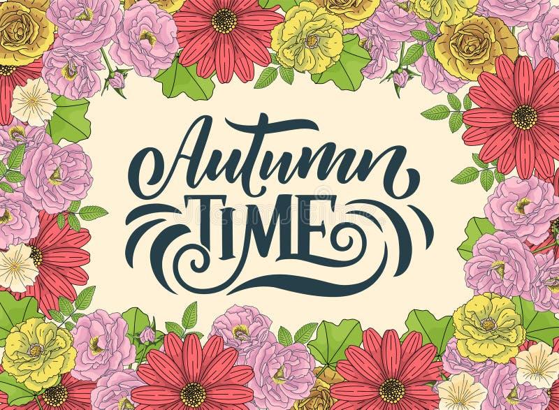 Hello-de herfst Hand het getrokken kalligrafie en borstelpen van letters voorzien ontwerp voor de kaart van de vakantiegroet en u royalty-vrije illustratie