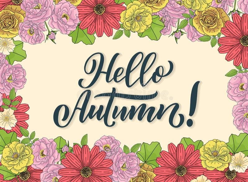 Hello-de herfst Hand het getrokken kalligrafie en borstelpen van letters voorzien ontwerp voor de kaart van de vakantiegroet en u stock illustratie