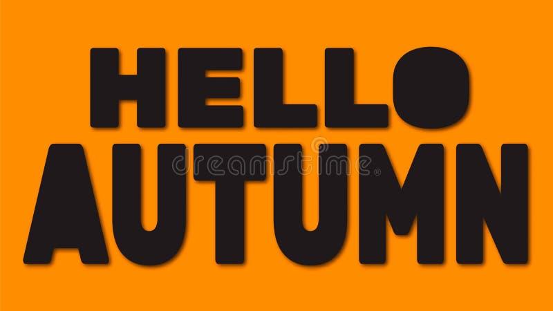 Hello-de herfst het van letters voorzien Vector illustratie royalty-vrije illustratie