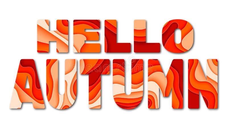 Hello-de herfst het van letters voorzien Vector illustratie stock illustratie