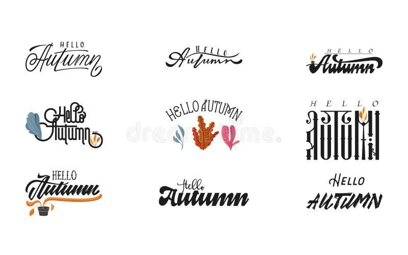 Hello-de herfst De met de hand geschreven kalligrafie van de reeks moderne borstel voor uitnodiging en groetkaart, t-shirt, drukk royalty-vrije illustratie