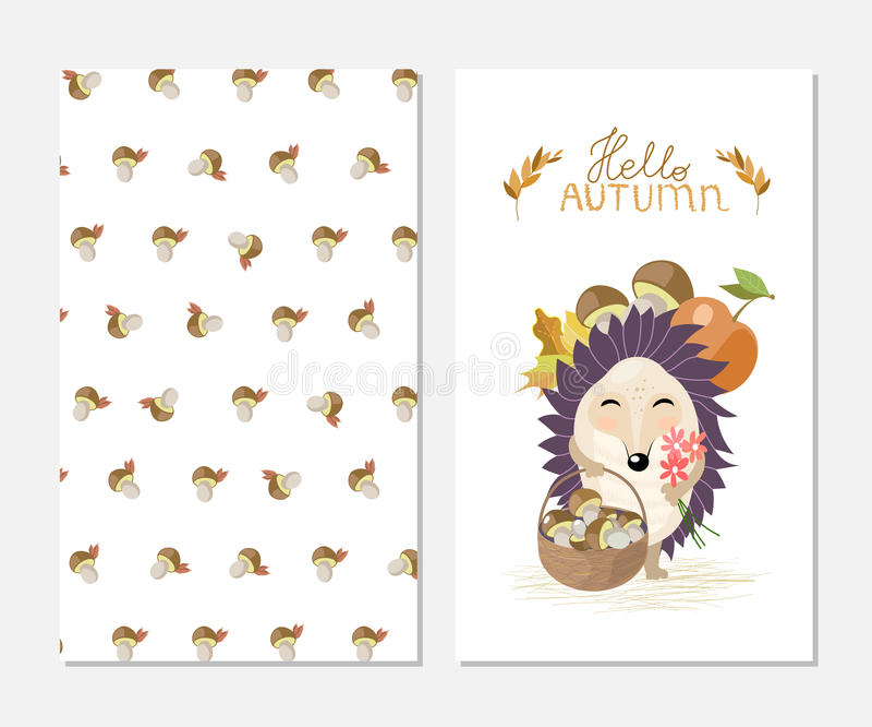 Hello-de herfst Modieuze inspiratiekaart in leuke stijl met beeldverhaalegel en mashrooms achtergrond royalty-vrije illustratie