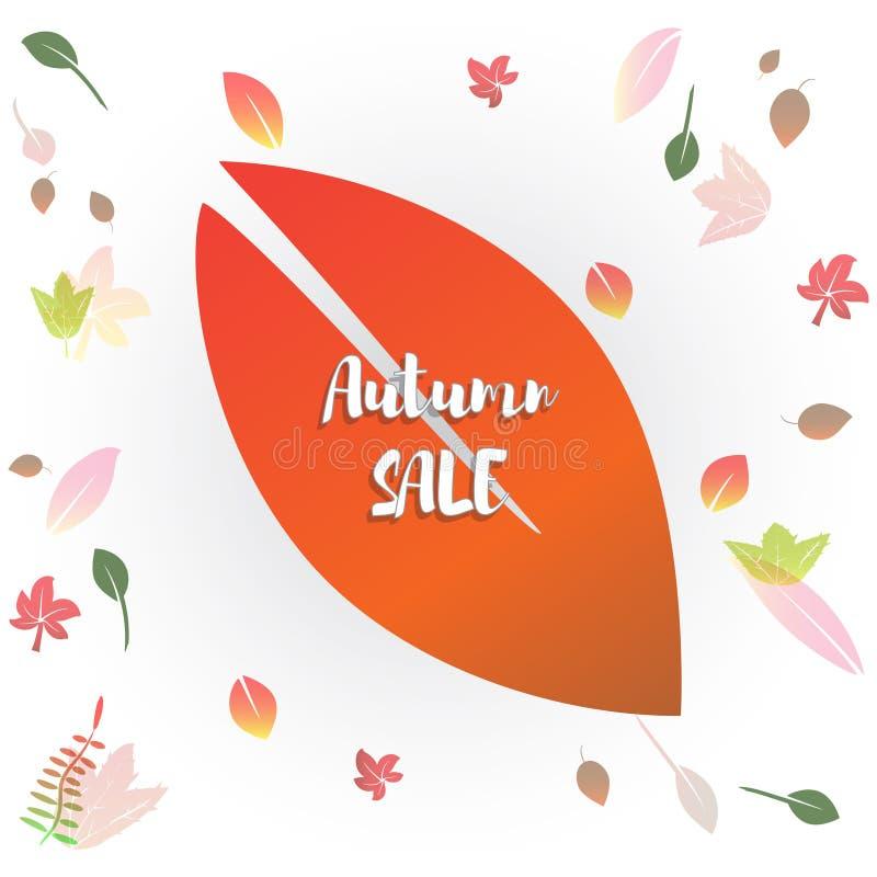 Hello-de herfst vectorillustratie Het ontwerpseizoen van de dalingsverkoop De decoratie van de dankzeggingsvakantie vector illustratie