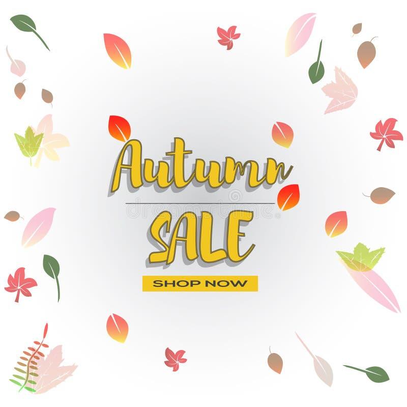 Hello-de herfst vectorillustratie Het ontwerpseizoen van de dalingsverkoop De decoratie van de dankzeggingsvakantie royalty-vrije illustratie