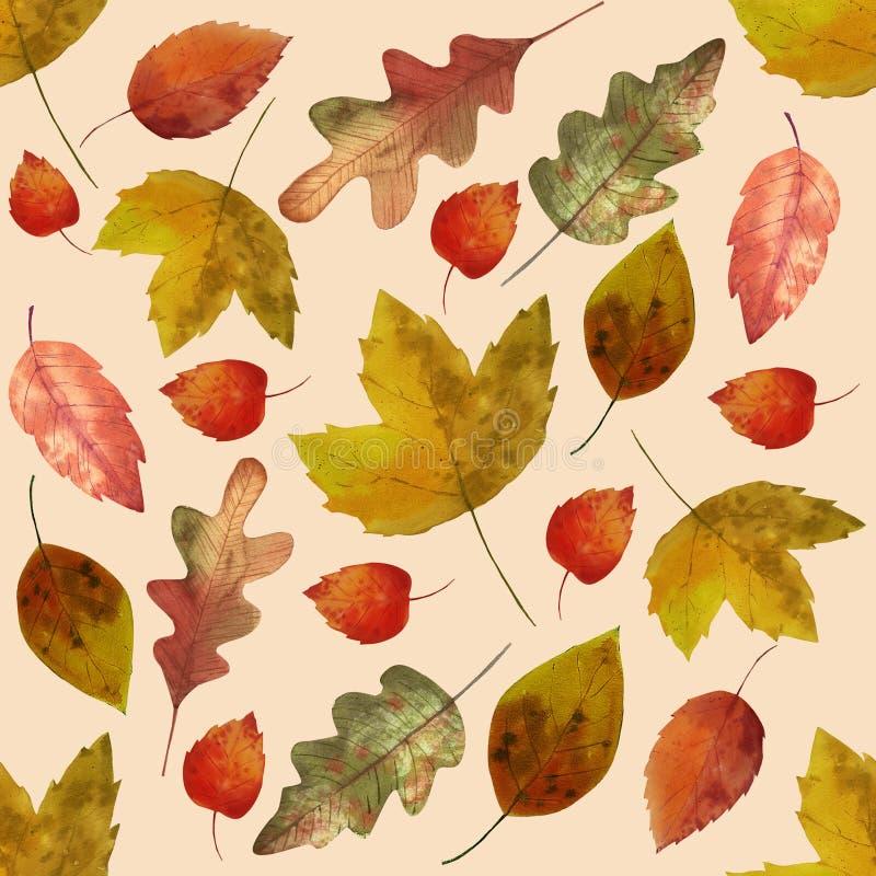Hello-de herfst Waterverf naadloos patroon stock afbeeldingen