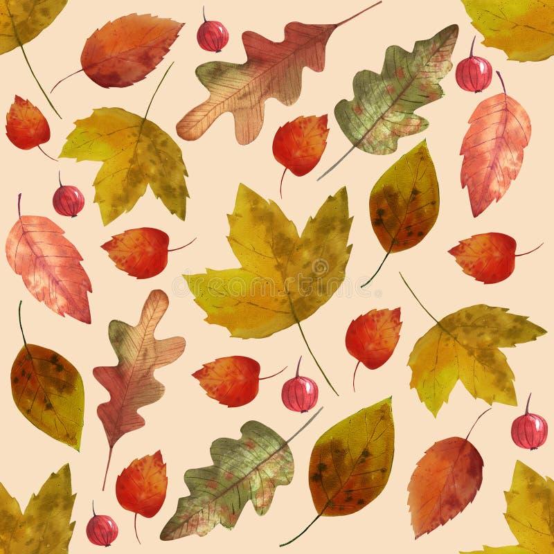 Hello-de herfst Waterverf naadloos patroon royalty-vrije illustratie