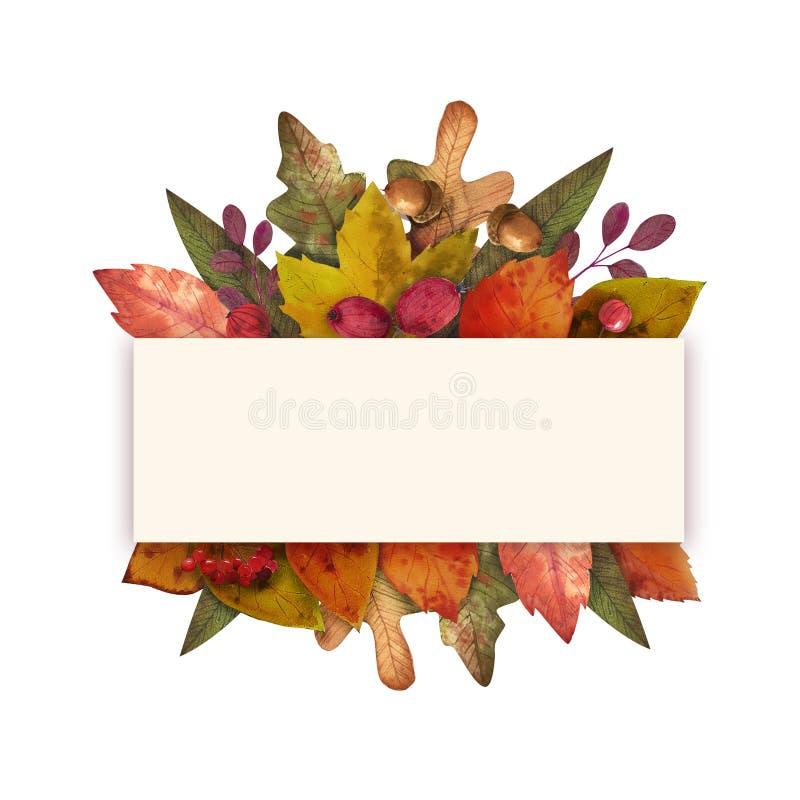 Hello-de herfst de waterverf verlaat kader stock fotografie