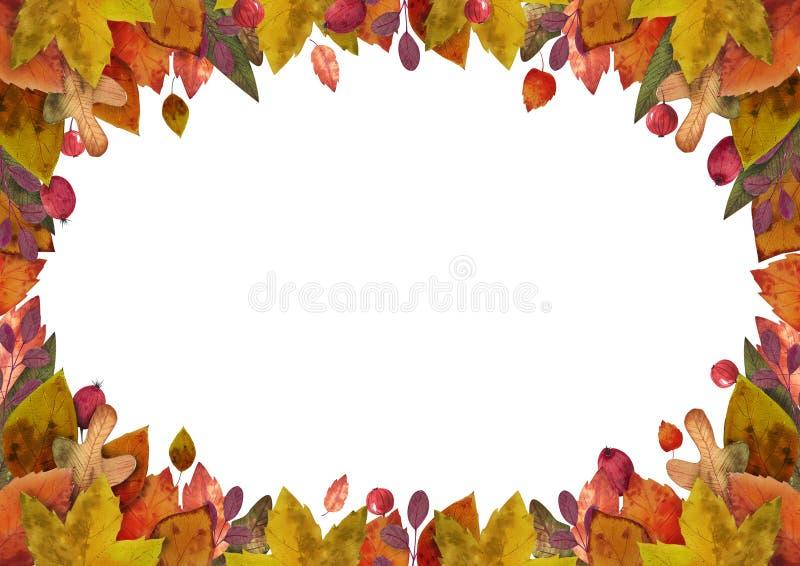 Hello-de herfst de waterverf verlaat kader stock illustratie