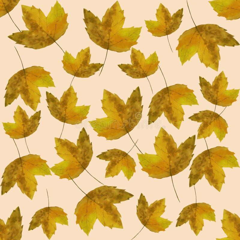 Hello-de herfst De waterverf verlaat patroon vector illustratie